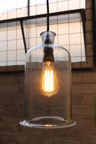 Industrial vintage style lab jar pendants with braided textile cord - Fat Shack Vintage - Fat Shack Vintage
