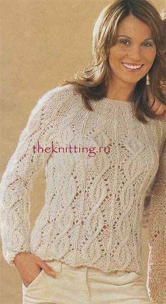 Вязание нарядного свитера спицами