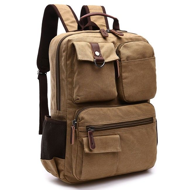 How nice Retro School Canvas Laptop Backpack Brown Large Capacity Multi-pocketed Outdoor Travel Backpack ! I like it ! I want to get it ASAP!