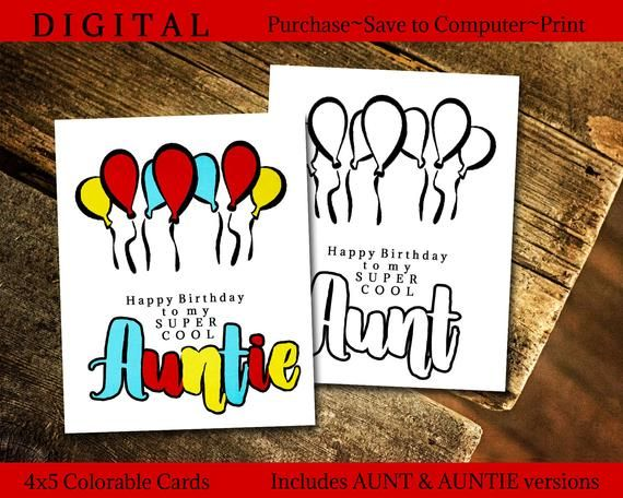Birthday Card For Aunt Homemade Gift From Niece Printable Etsy In 2020 Birthday Card For Aunt Printable Greeting Cards Printable Coloring Cards