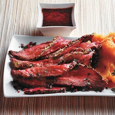 Bavette de boeuf au thym et au poivre rose
