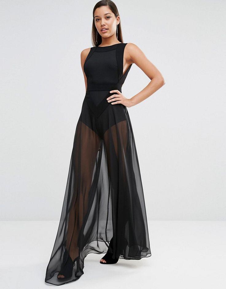 AQAQ+Kiva+Sheer+Maxi+Dress