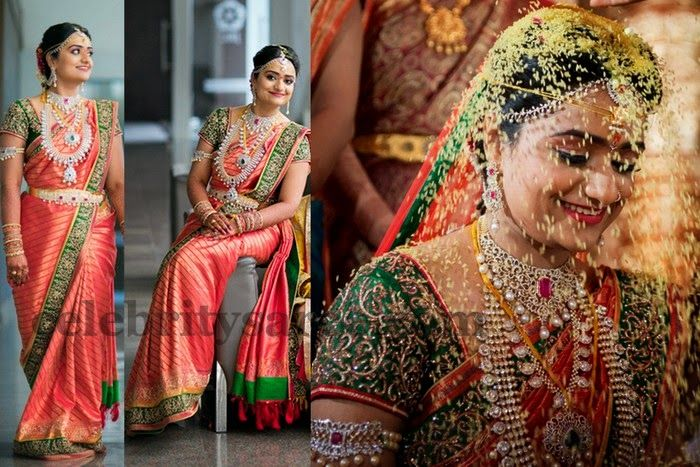 Bride in Pink and Green Work Saree | Saree Blouse Patterns