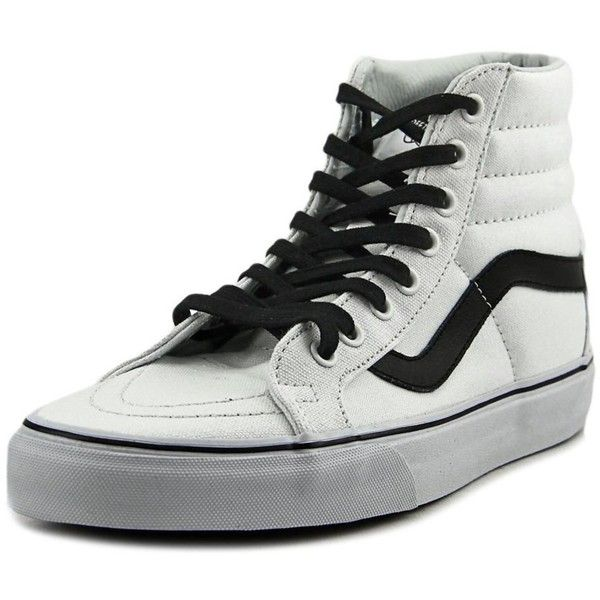 Vans Vans Sk8-Hi Reissue Round Toe Canvas Skate Shoe ($72) ❤ liked on Polyvore featuring shoes, sneakers, white, skate shoes, low heel shoes, small heel shoes, white sneakers and round toe shoes
