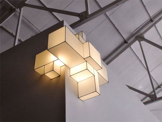 Right-angle geometry and musings on the cube identify the The WireShade Project by Marc Trotereau, 3D light fixtures that fly from the ceiling or extend from the wall.