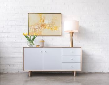 sloane washed oak and white credenza - small
