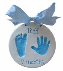 Double Impression Baby Hand/foot print. First Christmas Ornament for the grandparents