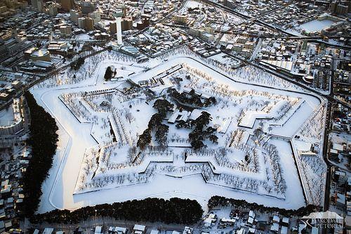 Fort Goryokaku http://en.wikipedia.org/wiki/Gory%C5%8Dkaku is a star fort in the Japanese city of Hakodate on the island of Hokkaido