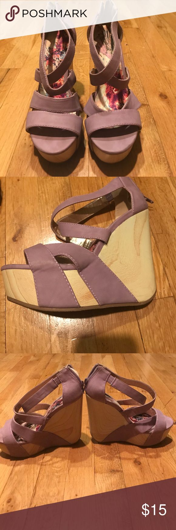 Adorable purple wedges from Shop Hopes! Super cute and comfortable! Minimal wear! I am unsure what size they are as it is not written on the show. They are either a 5.5 or 6! If you are interested I would be happy to measure them Shop Hopes Shoes Wedges