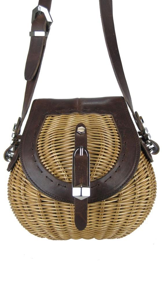 "Rattan ""Basket"" mini shoulder bag."