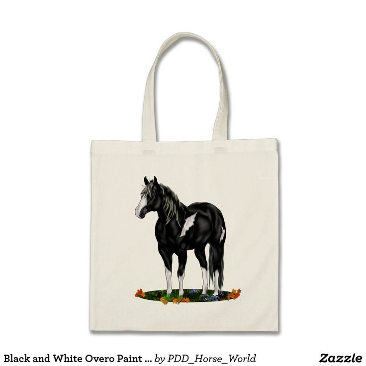 Black and White Overo Paint Horse Tote Bag