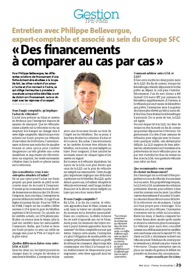 Flottes automobiles consacre une pleine page dans son numéro de mai à l'interview de Philippe Bellevergue, associé, sur le mode de financement d'une flotte automobile. (mai 2015)
