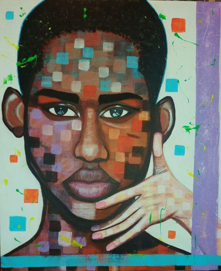 Olamorafa by STEFANO acrylic on canvas (50x60cm) Fashion art 2016 model @olamorafa painting,painter,portrait,acrylic,man,model,face,fashion,supermodel,african,africanman,modernpainting,fine art,artist