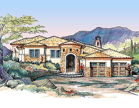 Plan 16336md spanish styling for side slope lot split for Side sloping house designs