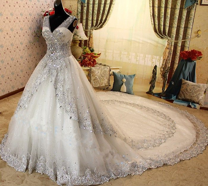Ball-Gown V-neck Royal Train Tulle Wedding Dress With Crystal Beadwork