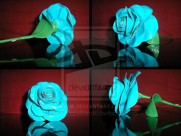 Duct tape blue rose by DuckTapeBandit.deviantart.com on @deviantART