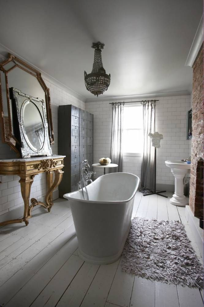 """::Slightly dim cottage bathroom. Creates a relaxing """"magic hour"""" feel any time of day."""