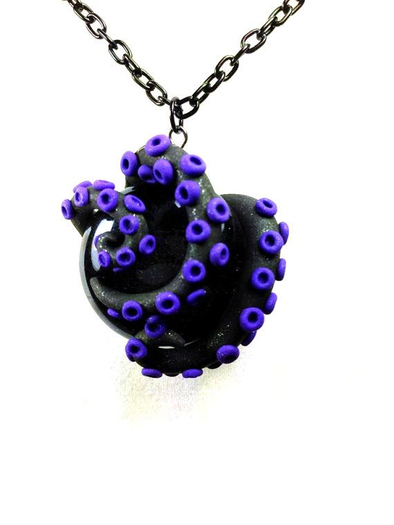 Black and Purple Tentacle Rock Polymer Necklace by SammyCraft, $13.00