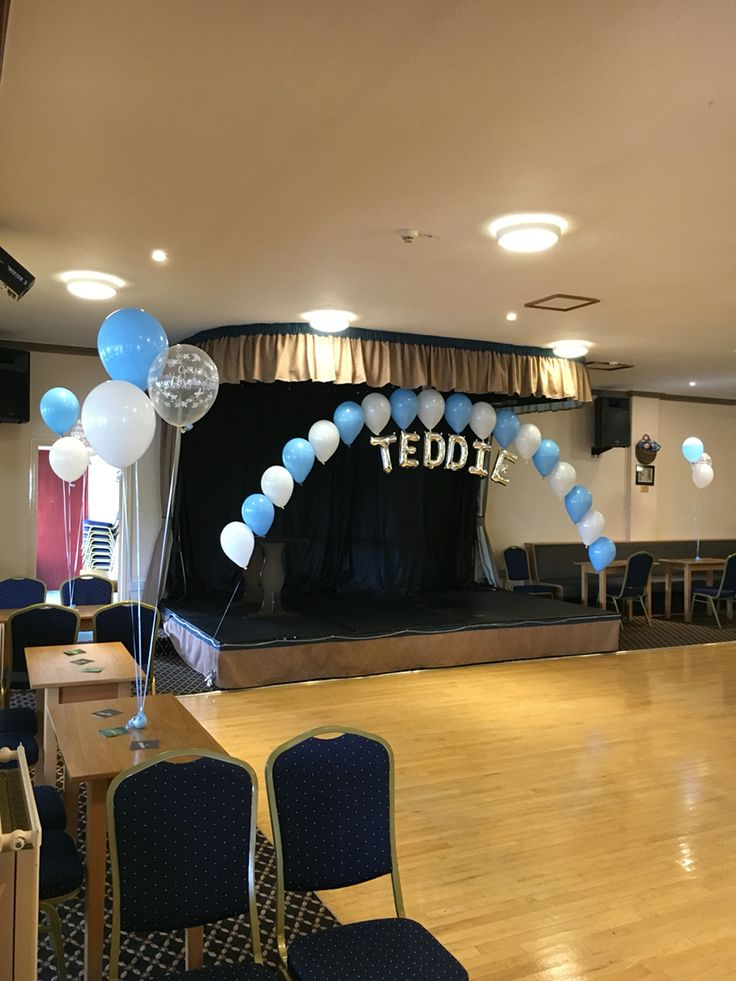 Boys Christening Balloons with Balloon Arch in Winsford, Cheshire www.weloveballoons.co.uk
