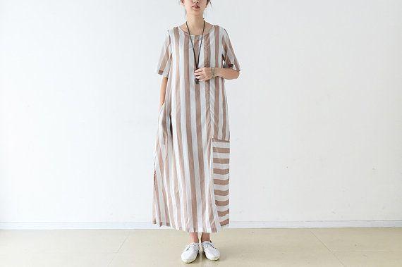 Womens Summer vestibilità ampia Classic veste abito di cotone con tasche, Womans lunga, lunga veste, vestito Casual, viaggio vestito a righe