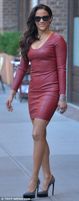 Paula Patton.. Robert Rodriguez Fall 2013 cherry-red long-sleeved leather dress, grey Saint Laurent pumps, and David Yurman jewels..