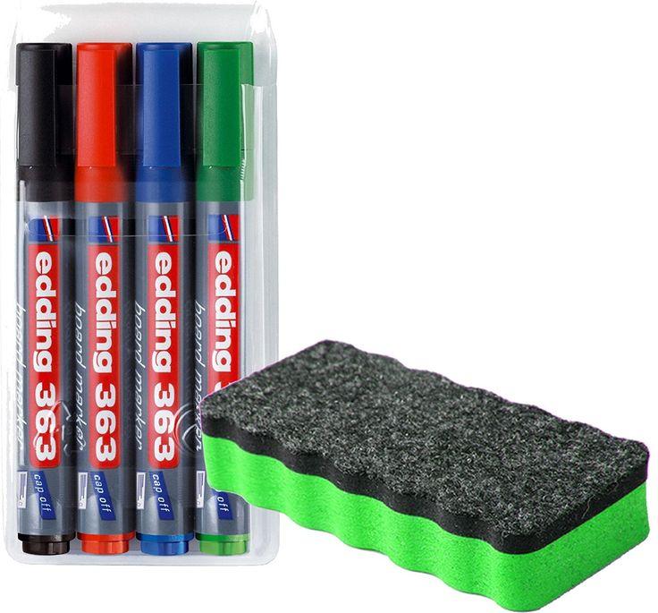 edding 363 Boardmarker (Keilspitze), 4-stück farblich sortiert + Whiteboardlöscher Grün magnethaftend: Amazon.de: Gewerbe, Industrie & Wissenschaft