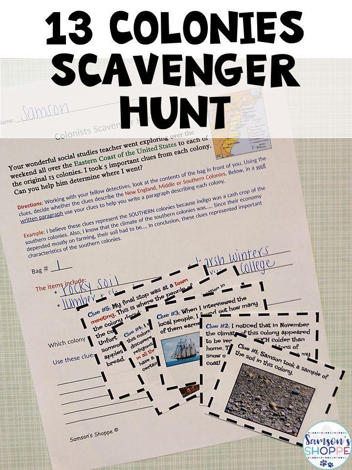 13 Colonies Scavenger Hunt