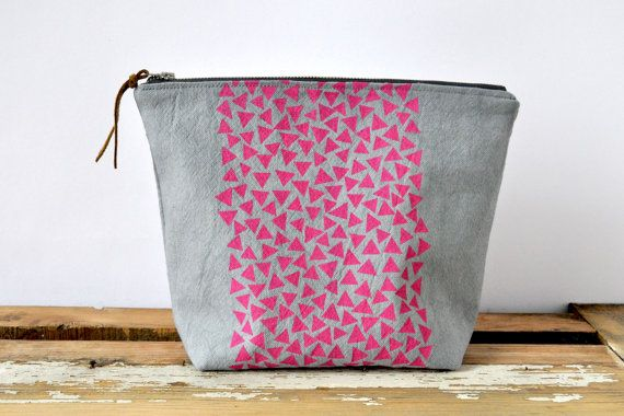 Pouch  Gray with Pink Triangles  Hand dyed and by eveden on Etsy, $28.00