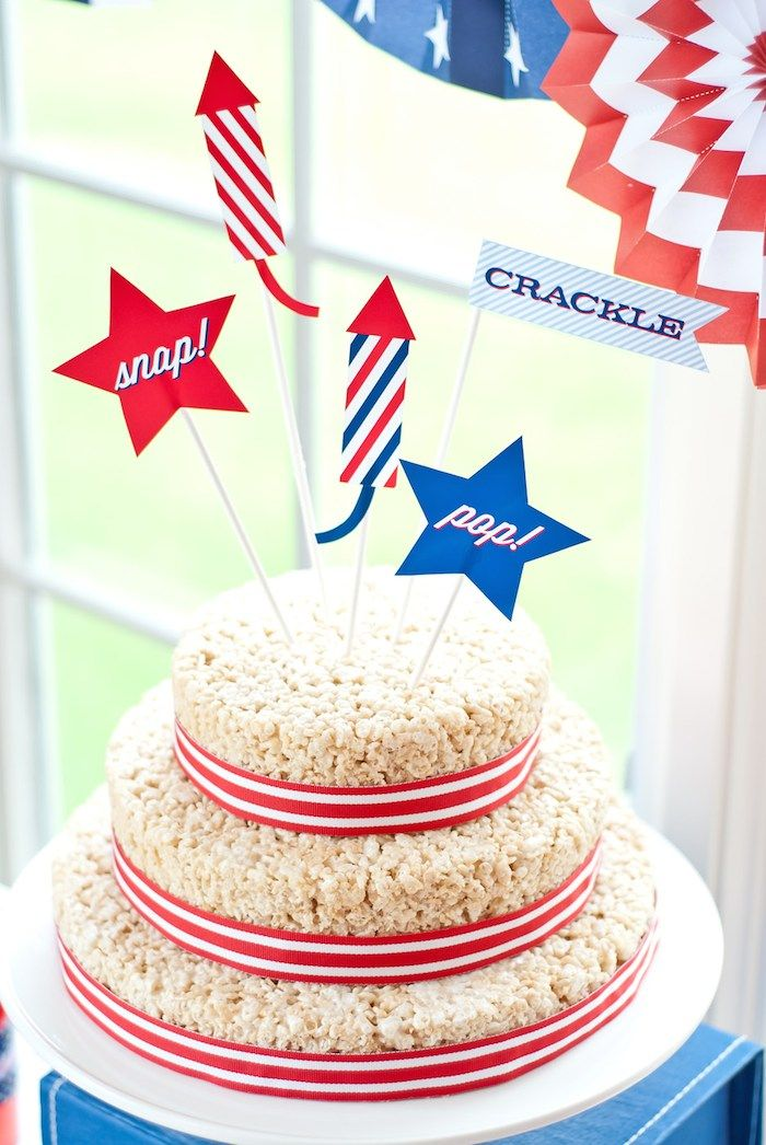 Rice crispie treat cake! All American 4th of July Party with SUCH CUTE IDEAS via Kara's Party Ideas! Full of decorating ideas, favors, printables, cakes, games, and MORE! KarasPartyIdeas.com