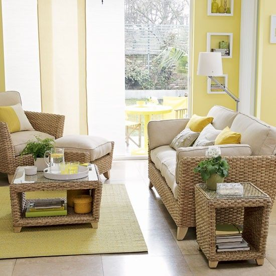 Sunny yellow conservatory | 10 smart and special looks for conservatory flooring | housetohome.co.uk