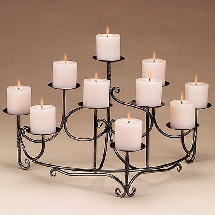 awesome black metal fireplace candelabra with white ten candle for home decoration ideas