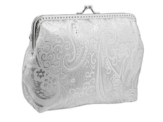 silver and white brocade purse frame clutch bag by FashionForWomen