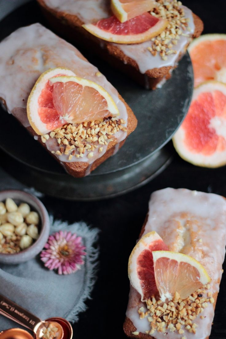 pink grapefruit and hazelnut cakes