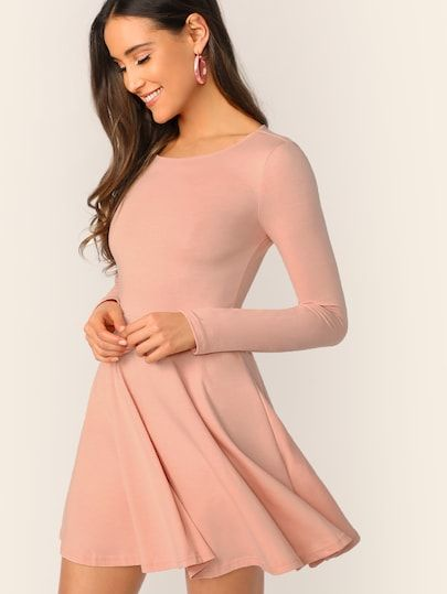 79fe993b14234 Round Neck Fit & Flare Solid Dress in 2019 | Dresses | Dresses ...