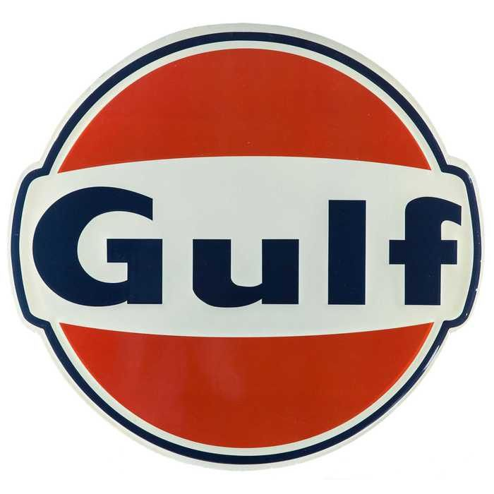 Large Vintage Gulf Oil Embossed Tin Sign