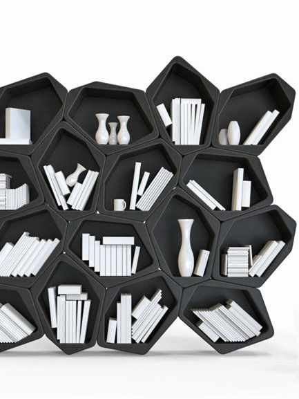 With all the abstract and converging lines this bookshelf would definitely make a good focal point or conversation piece in any room of the home