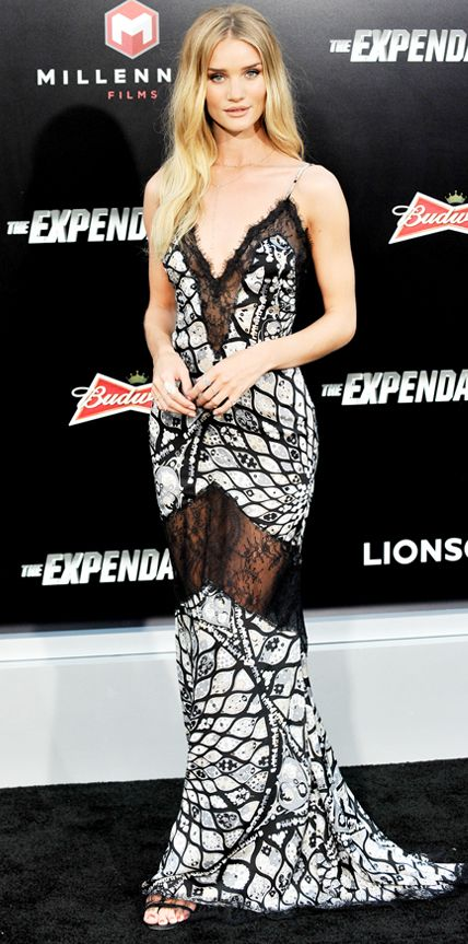• Rosie Huntington-Whiteley was statuesque at the Expendables 3 premiere in a silk Emilio Pucci slip dress •