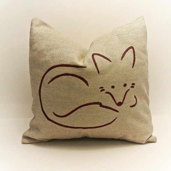 Red fox stenciled on pillow cover by MyPillowShoppe on Etsy, $28.00