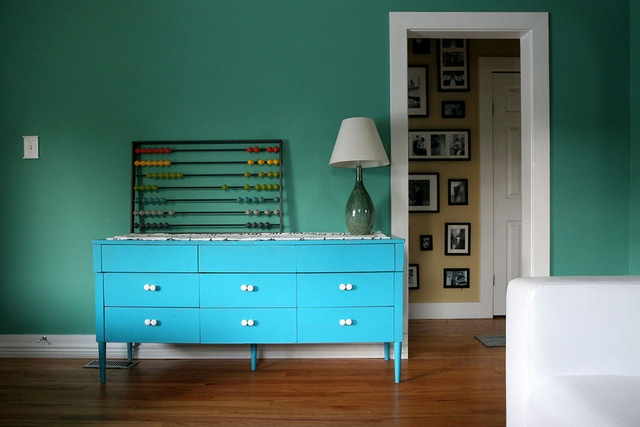 Teal: Wall Colors, Green Wall, Blue Lamps, Colors Mixed, Barnum Bungalows, Apartment Therapy, Houses Tours, Green Rooms, Tahoe Barnum