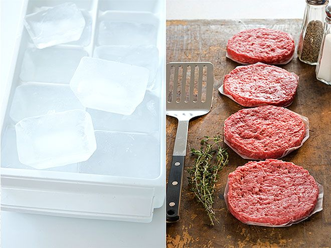 11 Grilling Hacks to Try Before Summer Ends | HIDE ICE CUBES IN BURGERS | At a cookout, a dried-out burger is as unwelcome as a swarm of mosquitoes, so some barbecue gurus like to add a single ice cube inside the patty before cooking. To ensure the ice doesn't melt and soak the meat, assemble the patties right before you put them on the grill. As the burger cooks, the ice cube will dissolve, leaving the inside of the patty moist and the outside crispy.