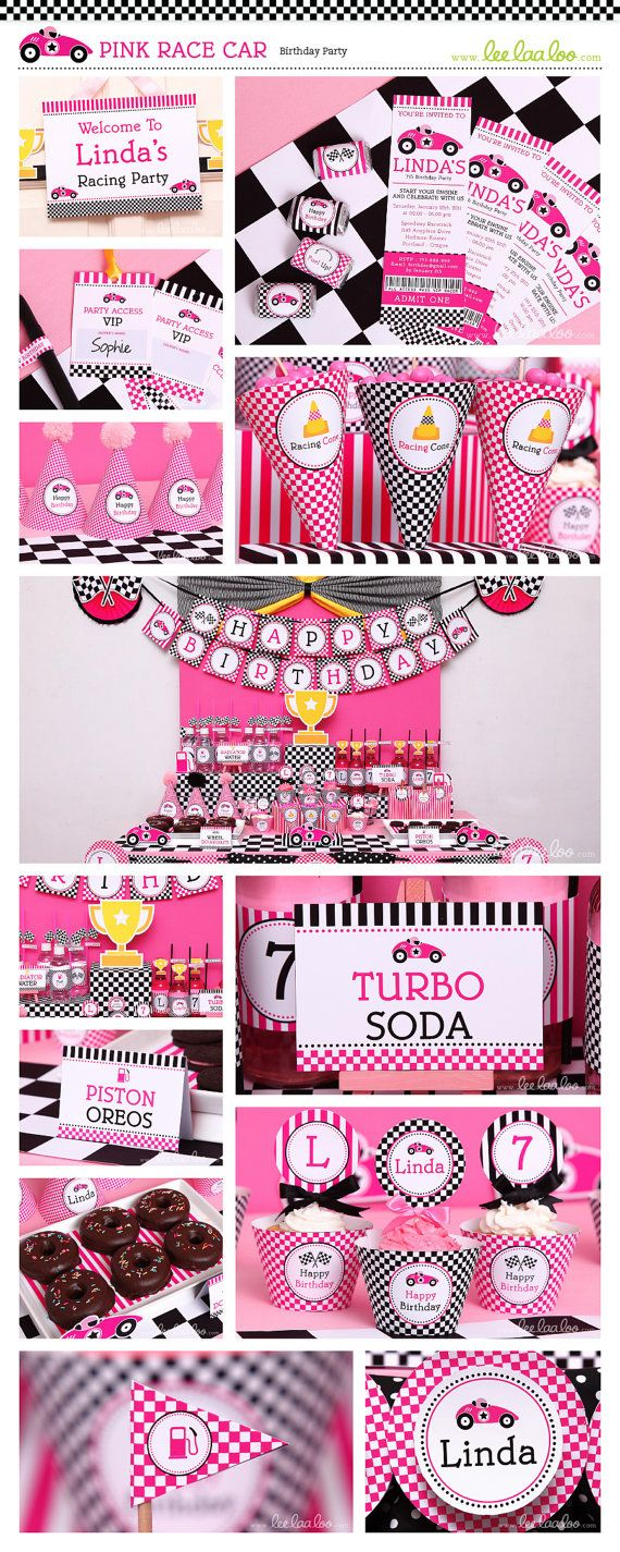 ••• Pink Race Party Party Theme •••  Shop Them Here:  https://www.etsy.com/shop/LeeLaaLoo/search?search_query=b58order=date_descview_type=galleryref=shop_search  ♥♥♥ Vendor Credits:  ♥ Party Styling: LeeLaaLoo - www.leelaaloo.com  ♥ Party Printable Design  Decoration: LeeLaaLoo - www.etsy.com/shop/leelaaloo  Our YouTube channel for some DIY tutorials here: http://www.youtube.com/leelaaloopartyideas