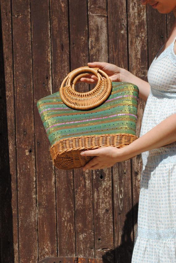 Wicker bag, beach bag, wicker handbag, wicker purse, green wicker bag from Reunion