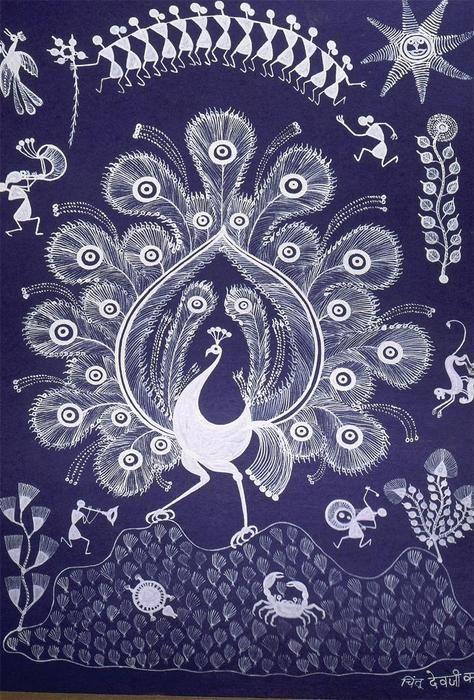 Peacock in warli style  pepupstreet.com #warli, #walldecor, #artstory, #handmade, #art
