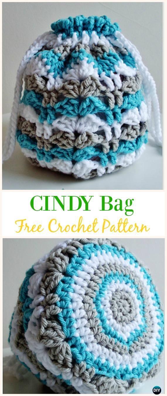 CINDY Bag Free Crochet Pattern -#Crochet Drawstring #Bags Free Patterns