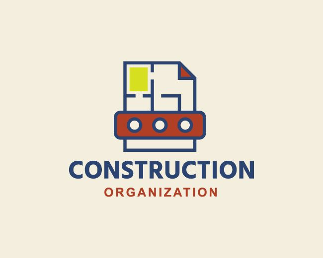 Logo in the shape of a document together with a house plan and a brick with blue, green and red colors.(document, projects, organization, manager, Architect, construction, brick, Civil Engineering, engineer, logo design, logo for sale, logo).