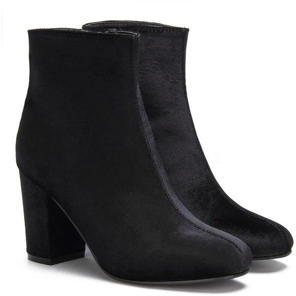 Yoins Black Fashion Velvet Chunky Heels Short Boots (55 CAD) ❤ liked on Polyvore featuring shoes, boots, ankle booties, yoins, black, chunky-heel ankle boots, black chunky heel booties, black chunky heel boots, black bootie boots and short black boots