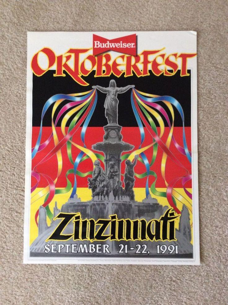 Budweiser OKTOBERFEST Zinzinnati Poster September 21-22, 1991 Cincinnati Ohio    eBay