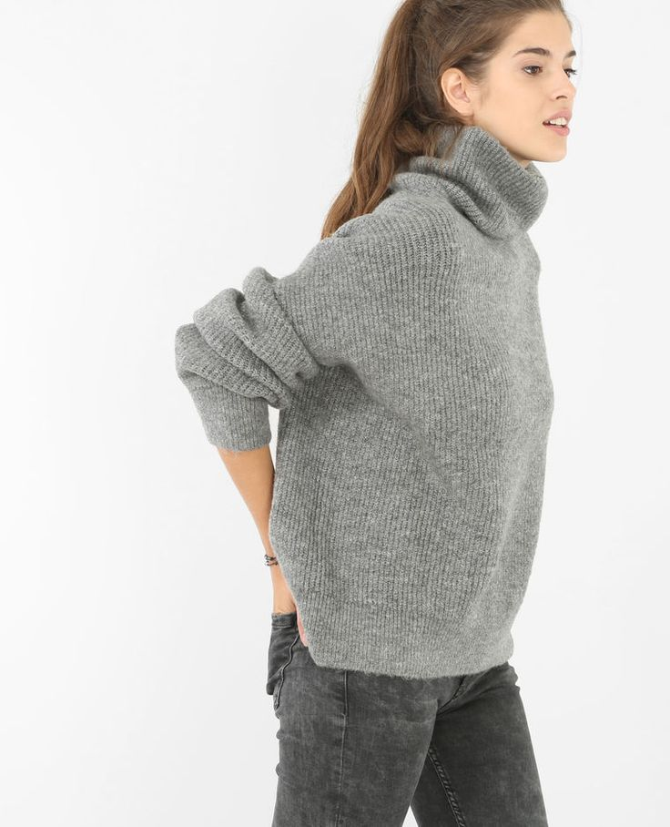 Pull Col Roule Gris