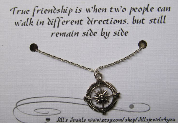 ... Compass Best Friend Necklace and Quote Inspirational Card - Long Distance Friendship - Friendship Necklace -