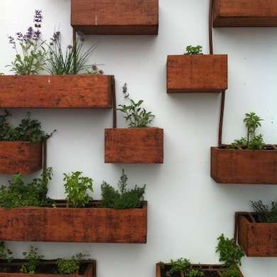 Mounted Wooden Planters - make from scrap wood or wooden drawers